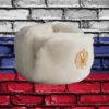 Шапка ушанка сувенирная из искусственного меха белая вид сбоку слева с кокардой российский герб