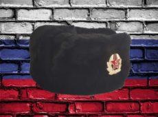 Шапка ушанка сувенирная из искусственного меха черная вид сбоку слева с кокардой красной армии