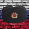 Шапка ушанка сувенирная из искусственного меха черная вид спереди с кокардой красной армии